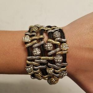 Jewelry - Boho Leather Cord Gold Silver Rhinestone Bracelet